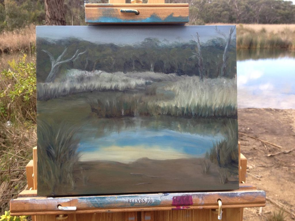 Anglesea river plein air oil painting