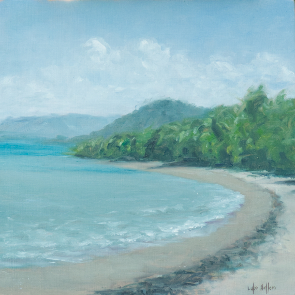 Oil on timber cradle  20cm x 20cm  –  Wonga Beach, just south of the Daintree River, looking south. Painted on the beach, in the shade of the coconut palms. Sitting inside the Great Barrier Reef, the protected Wonga Beach is a small strip of palm-lined beach between the rain forest and the sea.  Wonga Beach, North QLD, Australia.  Painted en plein air (in the open air).  An original oil painting, 20cm x 20cm on timber cradle. Shipped unframed.