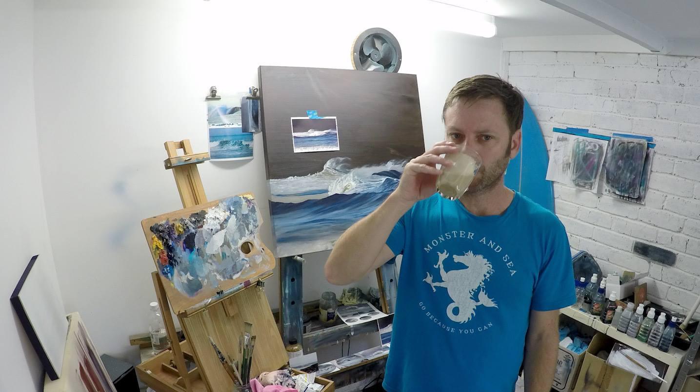 Luke Hallam in the studio on the Surf Coast