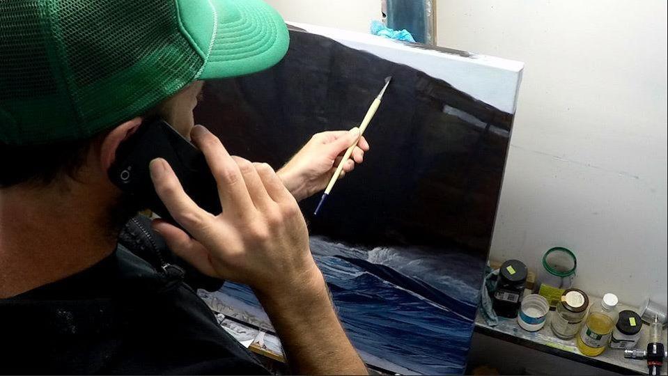 Oil Painting in the Great Ocean Road studio